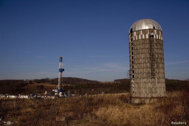 FILE - A natural gas well is drilled in a rural field near Canton in Bradford County, Pennsylvania, Jan. 7, 2012. Bradford County was at ground zero for fracking the Marcellus shale in the northeastern United States.