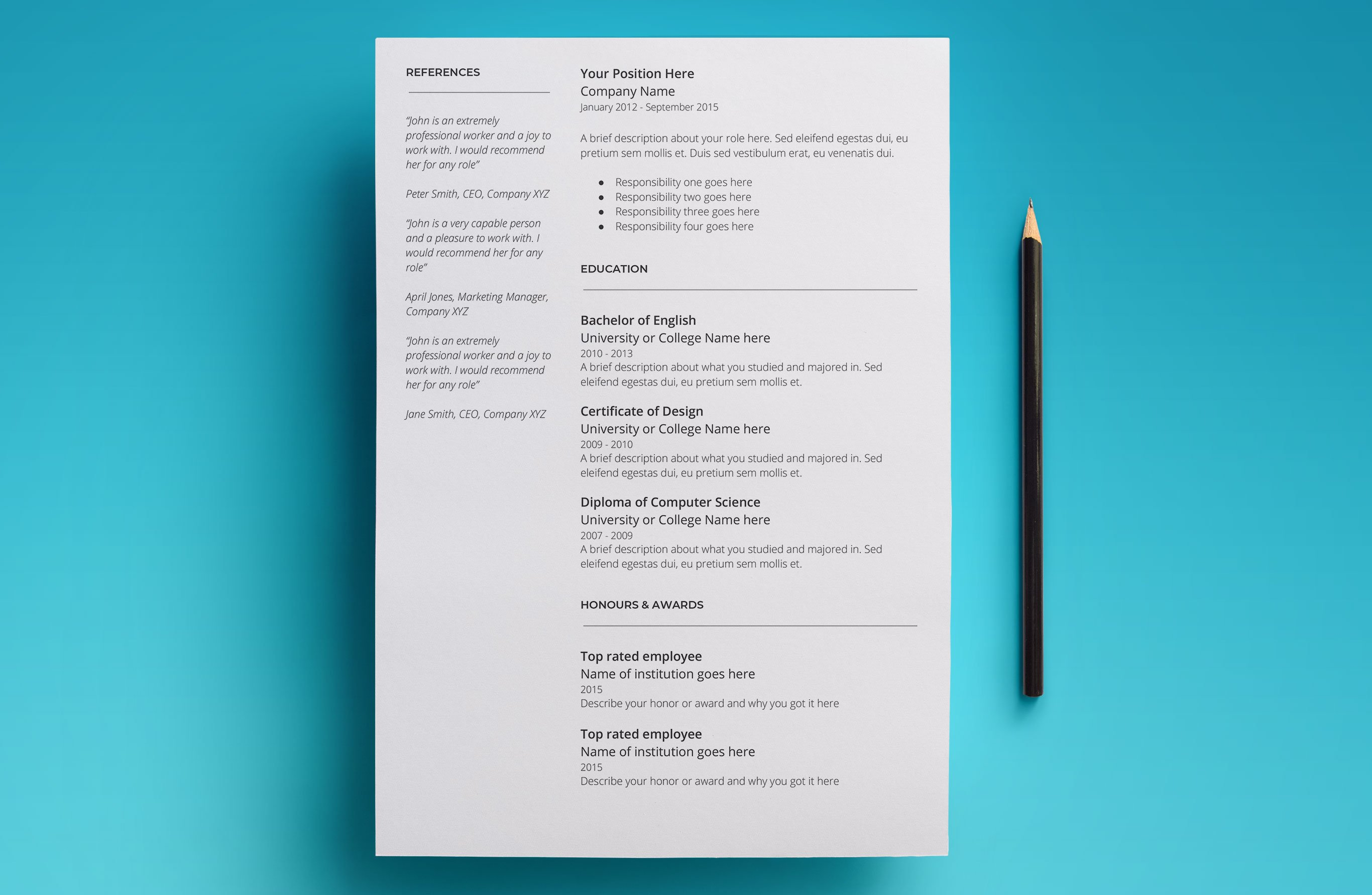 google docs 2 page resume template