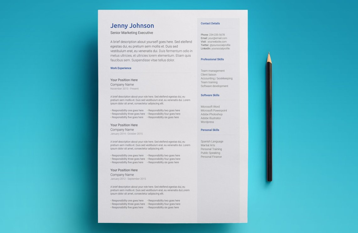 free google docs resume template - modern 2018 design