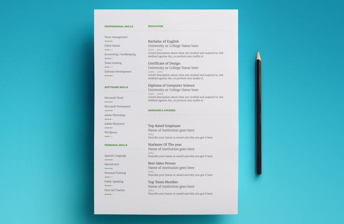 resume template for google docs - instant download