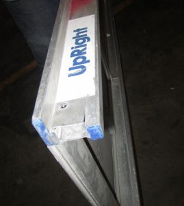 Aluminum scaffolding #misused PLATFORM HOOK AND RAIL ARE MISSING AND DAMAGE. FIXED IN THE FIELD WITH NEW RAIL AND HOOK