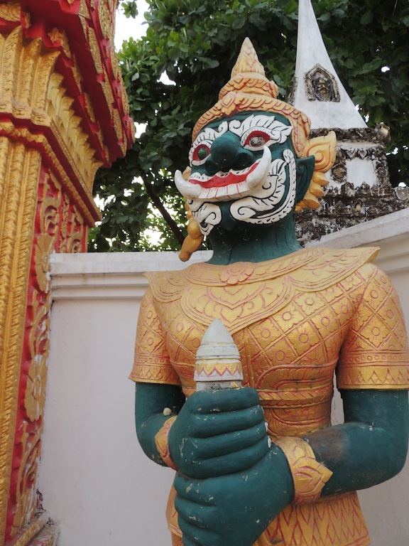 Statue outside the temple in the middle of Vientiane