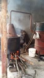 The Rakija distillation system at Miranda's house. Tis the season.