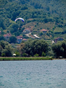 Parachuting is a popular tourist attraction around the lake