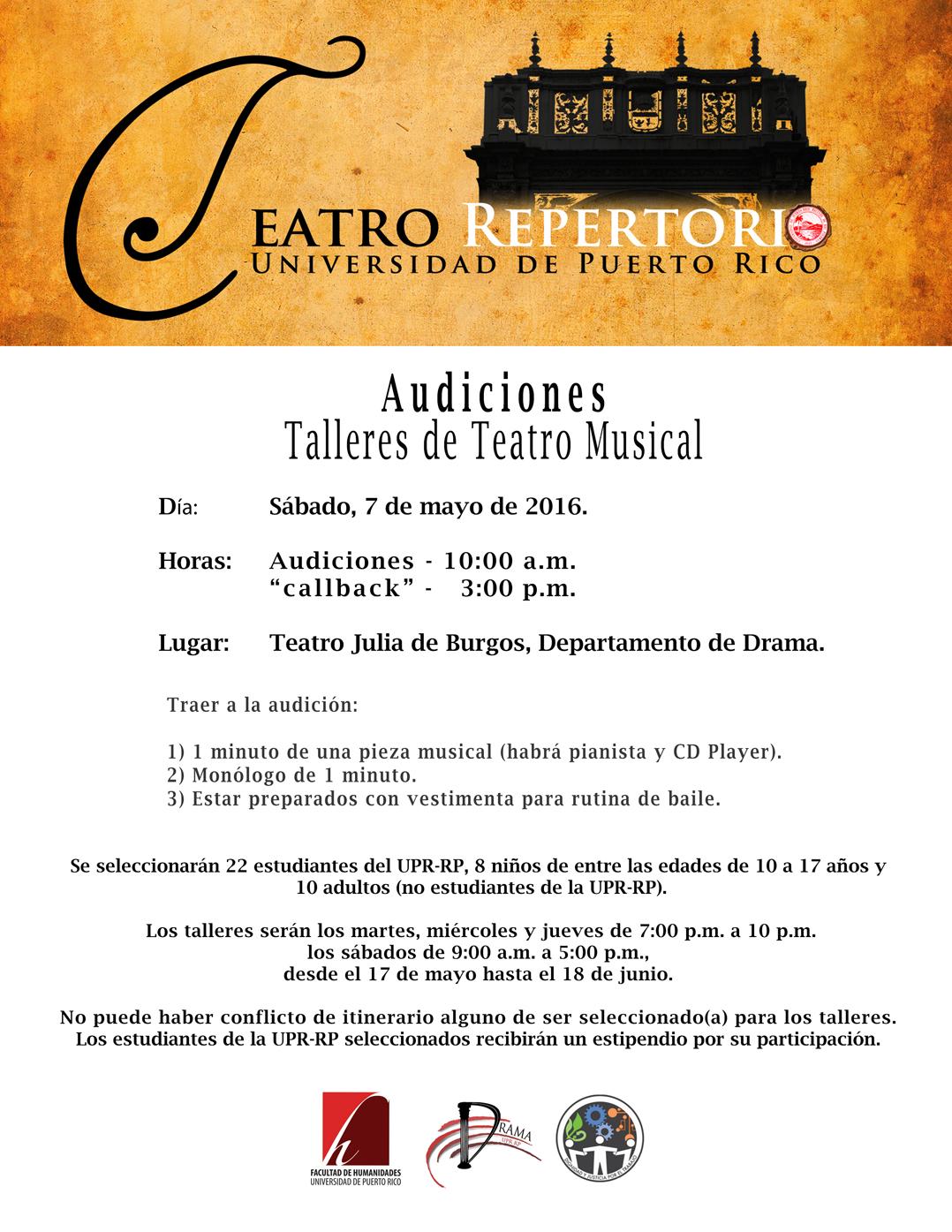 Audiciones Puerto Rico 2019 : audiciones, puerto, Audiciones, Talleres, Teatro, Musical, Universidad, Puerto