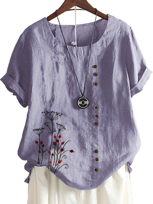 Vintage Cotton And Linen Embroidered Button Blouse - charmwish.com