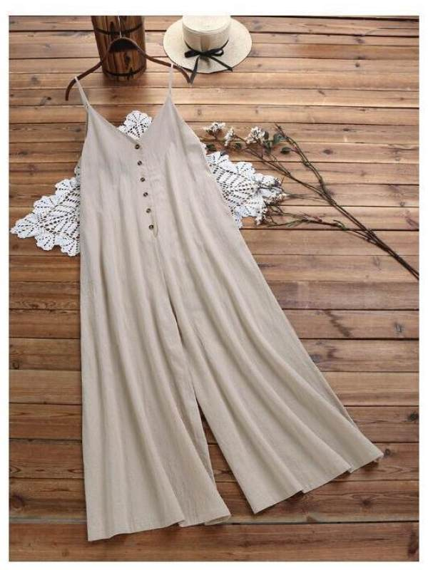 Loose cotton and linen buttons solid color sleeveless jumpsuit - charmwish.com