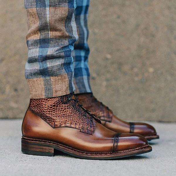 Men Vintage Snake Patchwork Ankle Boots - menilyshop.com