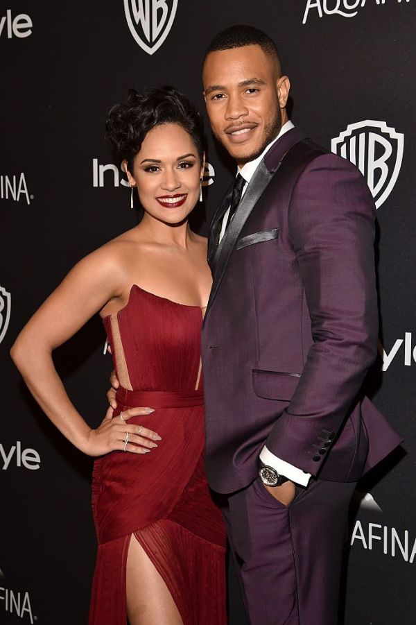 BEVERLY HILLS, CA - JANUARY 10: Actors Grace Gealey (L) and Trai Byers attend InStyle and Warner Bros. 73rd Annual Golden Globe Awards Post-Party at The Beverly Hilton Hotel on January 10, 2016 in Beverly Hills, California. (Photo by Lester Cohen/WireImage)