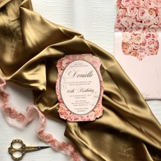 Cardstock Invitation Pink Rose Floral Print