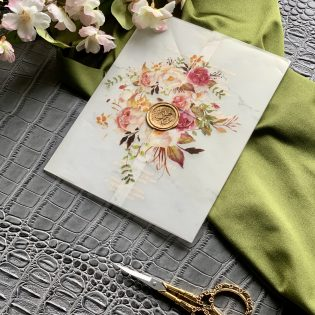 Vellum Floral Gatefold Invitation Wax Seal Stamp