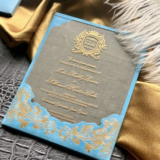 Blue Suede Mono Pocket Acrylic Invitation Tassel Envelope