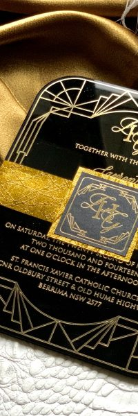 Black Acrylic Invitation Gold Foil Great Gats