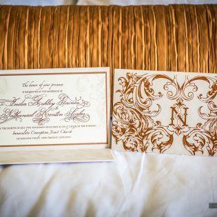 Invitation Suede Folio Rose Gold Foil