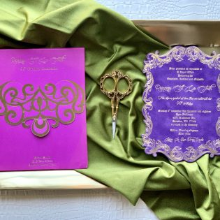 Purple Suede Invite Magenta Envelop