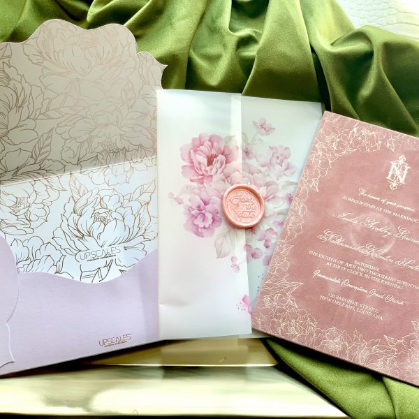 Vellum Invitation with Peony Design and Suede Insert 2