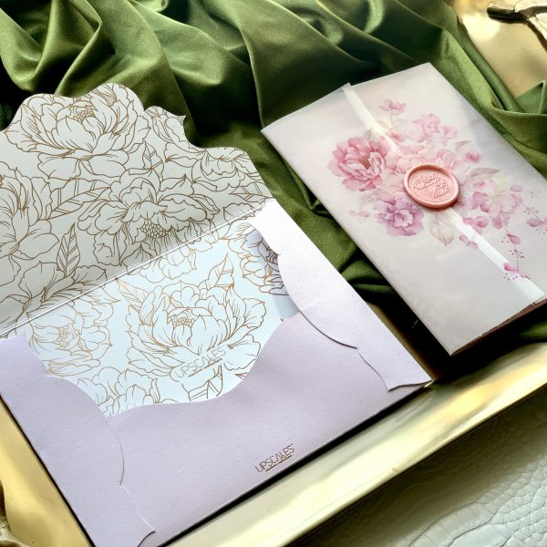 Vellum Invitation with Peony Design and Suede Insert