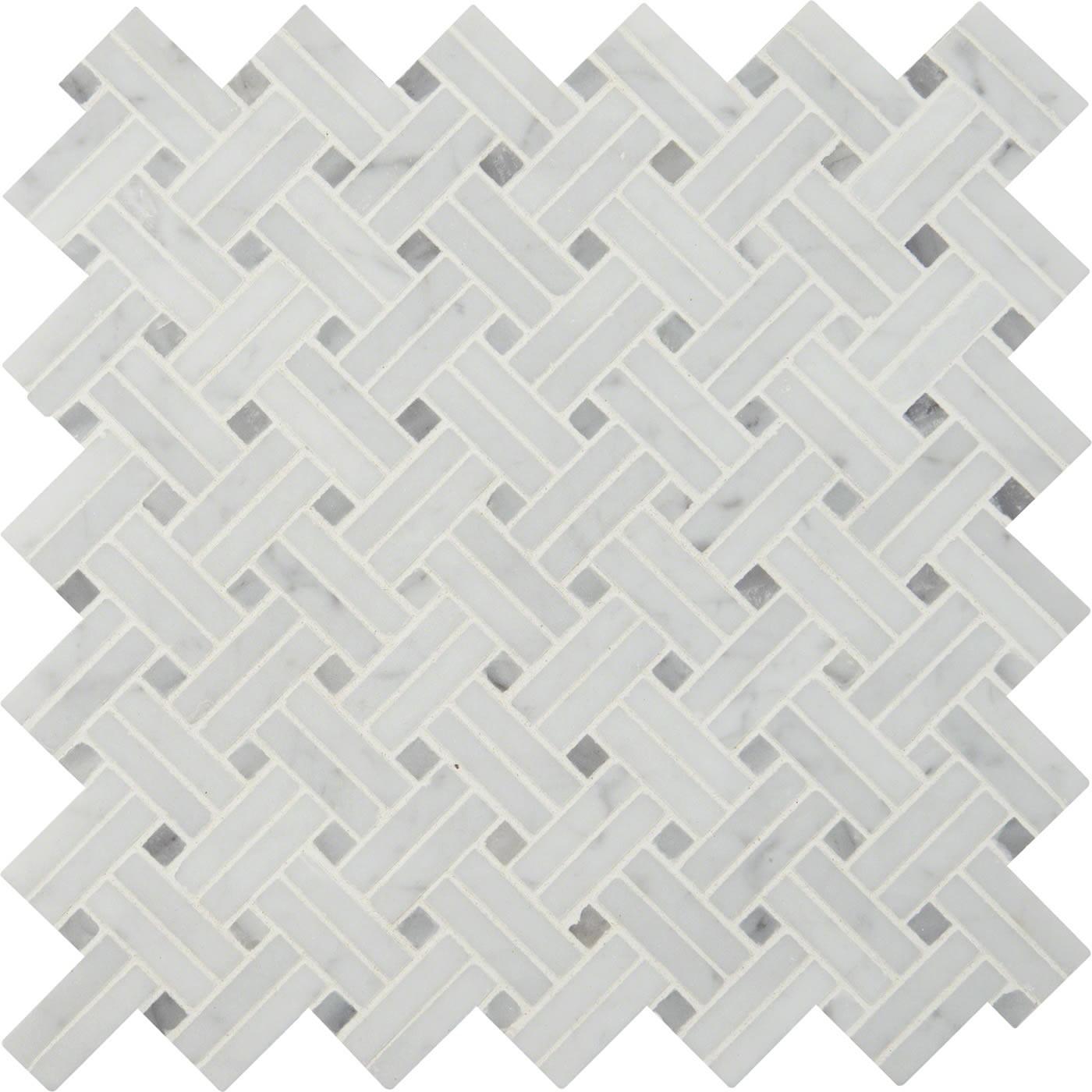 carrara white basketweave pattern 2 pol
