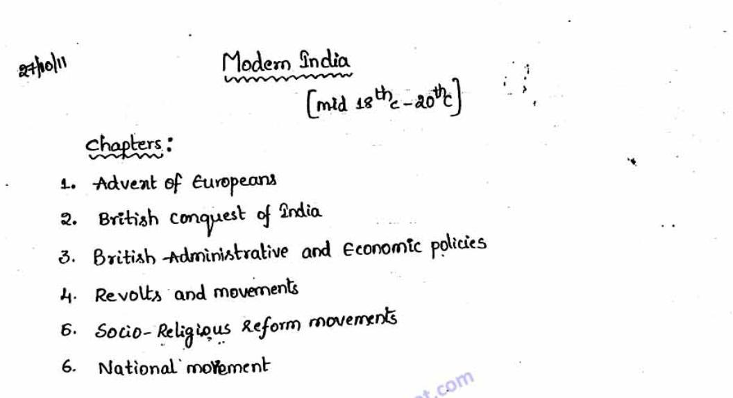 Modern History Hand Written Notes (135 Pages) PDF | | UPSC PDF