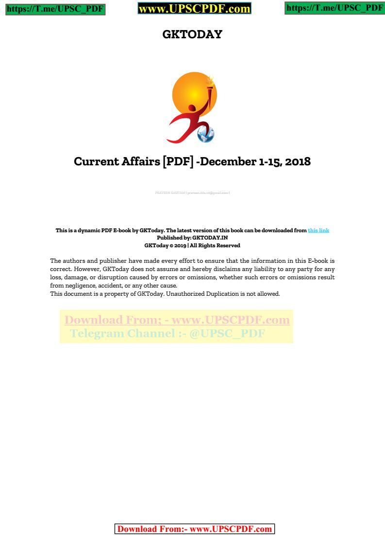 GkToday December 2018 Current Affairs Magazine PDF | | UPSC PDF