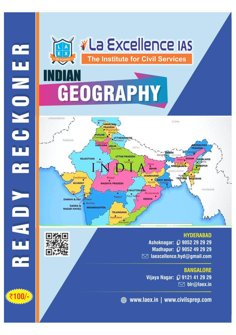 La Excellence Ready Reckoner Indian Geography PDF | | UPSC PDF