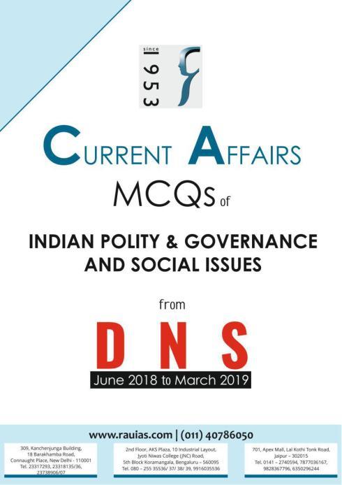 Rau IAS DNS Current Affairs MCQ 2019 Indian Polity PDF