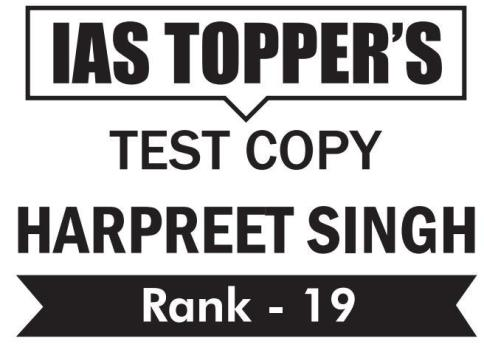 UPSC Topper Harpreet singh  Rank 19 GS Copy