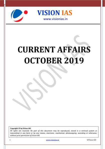 Vision IAS Monthly Current Affairs October 2019 PDF