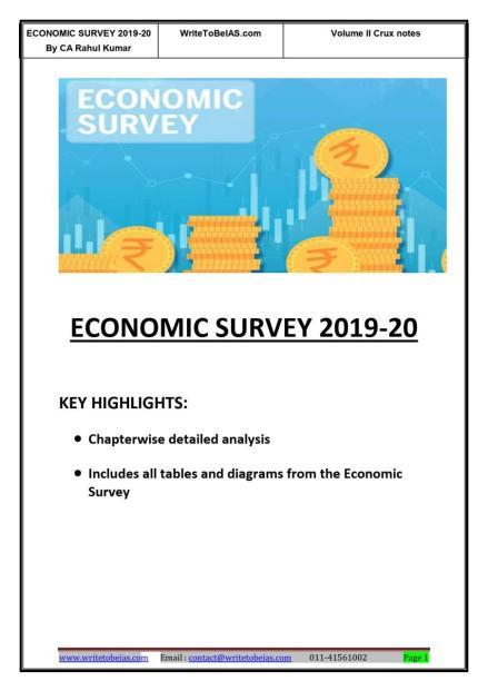 WritetobeIAS Crux of Economic Survey 2019-20