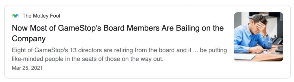 "Motley Fool headline that says Gamestop executives were ""bailing"""