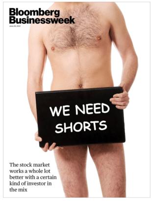 A Bloomber Businessweek magazine cover defending short sellers