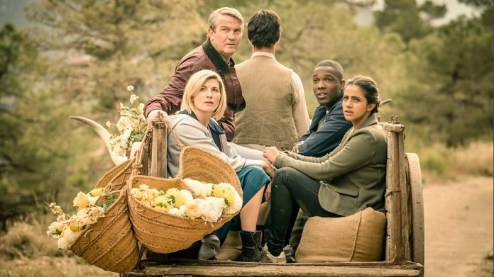 The 13th Doctor and friends hitching a ride in the episode 'Demons of The Punjab'. Photo Credit: BBC