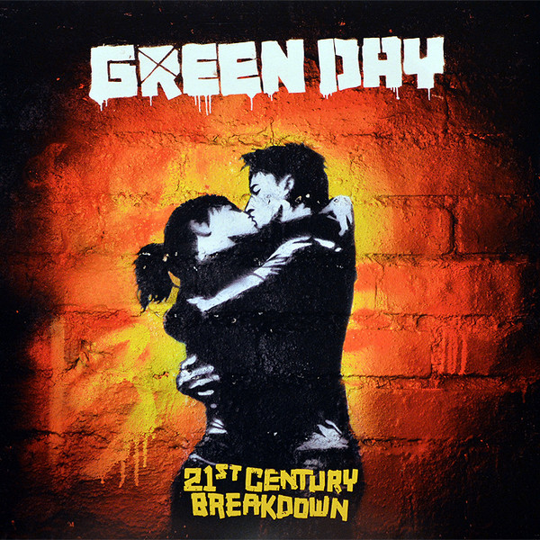 Green Day's 21st Century Breakdown. The album art was based on a stencil created by artist Carl Nyman, professionally known as SIXTEN, whose work can be found  here . Image via  discogs.com