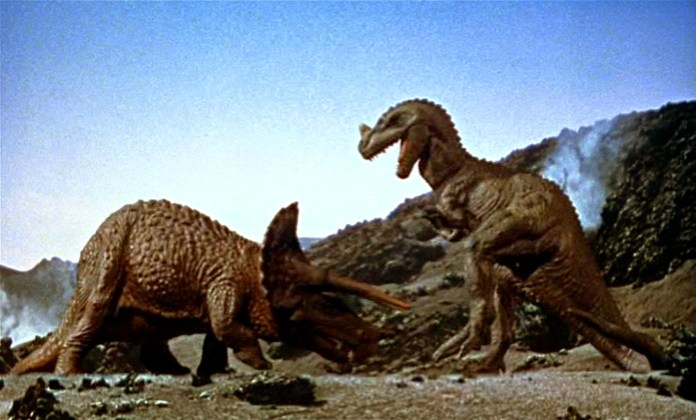 Classic movie fight between T-Rex and Triceratops