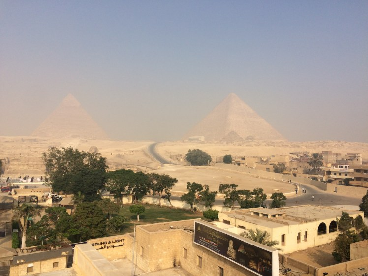 Giza pyramids view from our the Great Pyramid Inn hotel