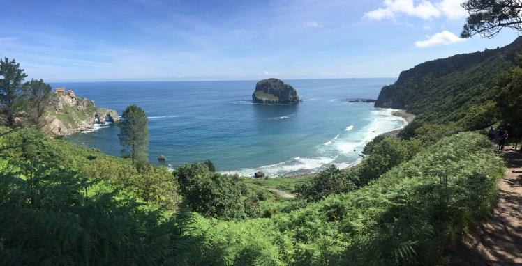 San Juan de Gaztelugatxe and the atlantic ocean panoramic view