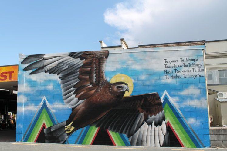 graffiato street art, Taupo, eagle representation