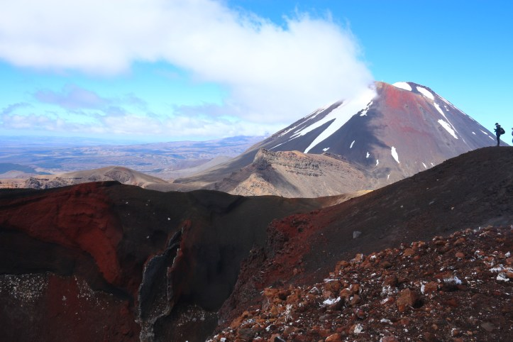 Mount Ngauruhoe, aka Mount Doom and a view over Red Crater. Tongariro Alpine Crossing, New Zealand