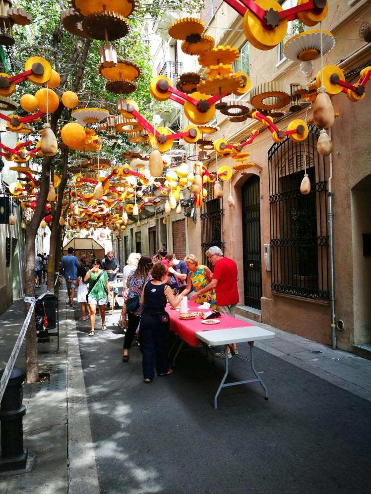 neighbors enjoying the Fiesta de Gracia in Barcelona