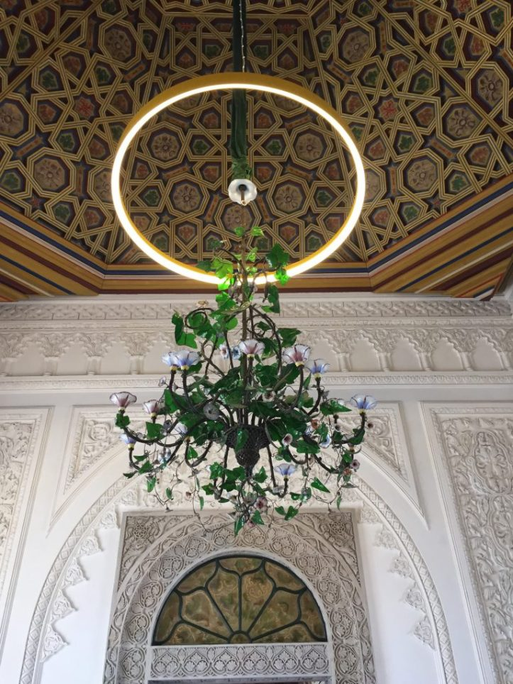Palacio de Pena vaulted ceiling and chandelier
