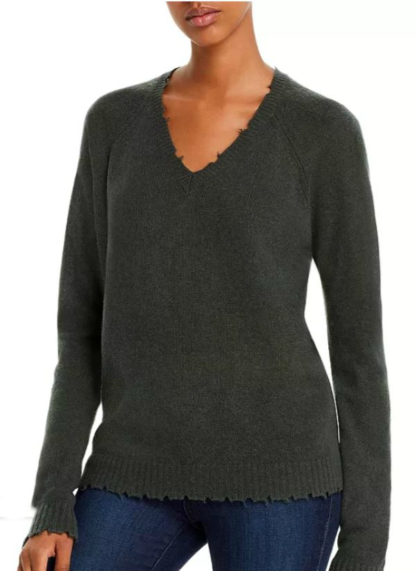 Minnie Rose Distressed V-Neck Cashmere Sweater