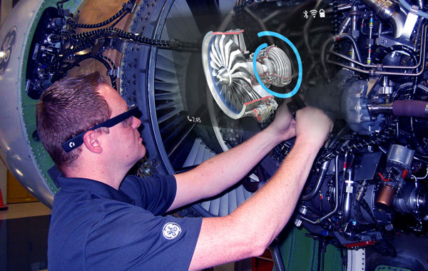 GE Aviation worker uses Skylight to immediately verify the torque values of engine bolts.