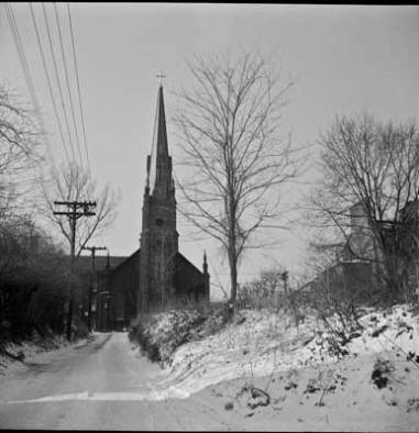 View up Newman Street toward St. Mary's Church, circa 1948
