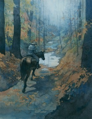 "Post Rider 15""x 12"" watercolor, gouache, and digital on paper Linking the young nation through mail communication. A part of the story of Natchez Trace Parkway."
