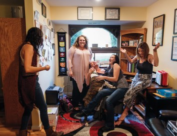 """""""The one thing that I've experienced over and over is the huge amount of love. Because it was given to me I try to pass that on to every single individual that walks through the door of Serenity Sistas. Go out love people even when you don't like them. Go love them. Love your community. Give back to your community and give back to the next person who is suffering,"""" Angel says about running Serenity Sistas. Shaudi, Izelle, Alisa, and Kelli all help Angel in managing Serenity Sistas. All are in long term recovery themselves and guide newer Sistas through the process of recovery."""