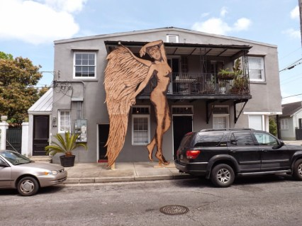 """""""Demi Ange"""" (2014) 12'x20' Blowtorch and flamethrower on plywood, created live on Royal St. in New Orleans, LA"""
