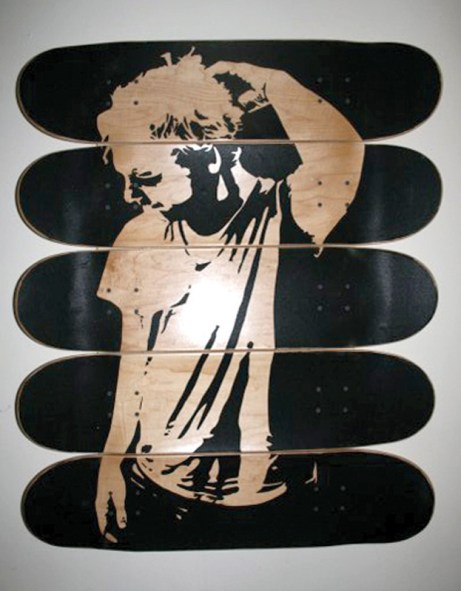 """Skerling"" (2007) griptape on skate decks."