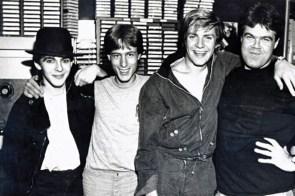 Duran Duran comes to WLIR studios on Fulton Avenue in Hempstead in 1980. From left, Nick Rhodes of group; disc jockey Bob Waugh; Simon LeBon of Duran Duran; and DJ Ray White. Photo Credit: WLIR