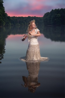 Flutist Naomi Littlefield photographed at Scott's Cove Recreation Area in Laurel, MD