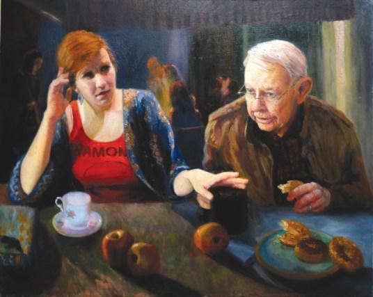 Diane Monday, Late Tea with Grandad at Place Stanislas, oil, 24x30